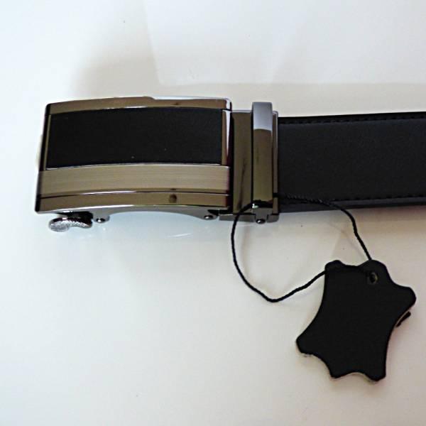 Boucle de ceinture à crémaillère en cuir, modèle Black Prestige