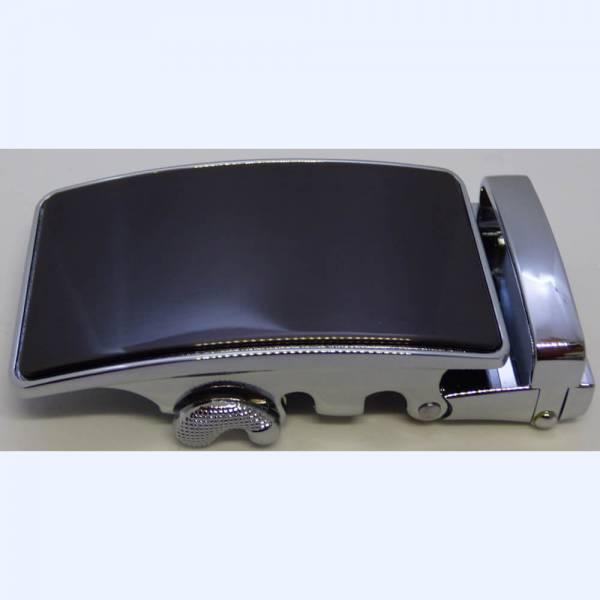 Boucle de ceinture à graver couleur noire polie contours argentés